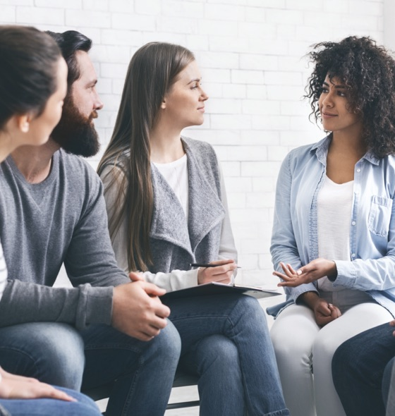 a group session of interactions and listening