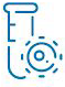 Lab test tube icon in blue