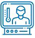 health screening on monitor icon in blue